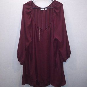 Cato Woman Maroon sheer blouse with stretch cuff